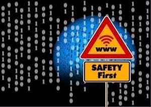 Safety first on the Internet sign; image by geralt, via Pixabay, CC0, no changes.