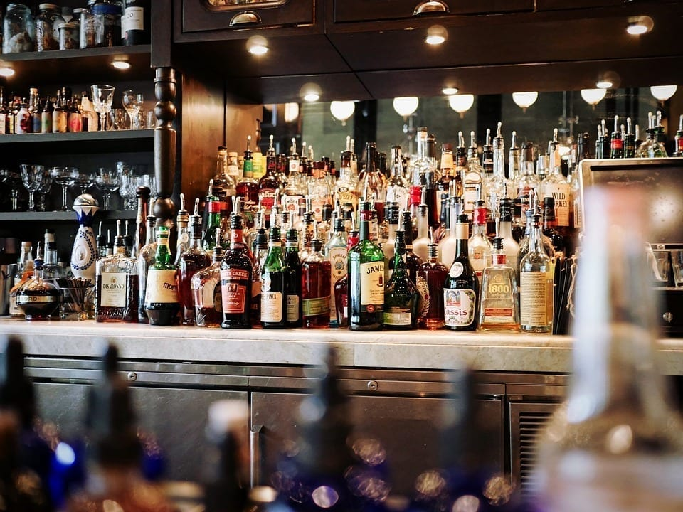Image of alcoholic beverages at a bar