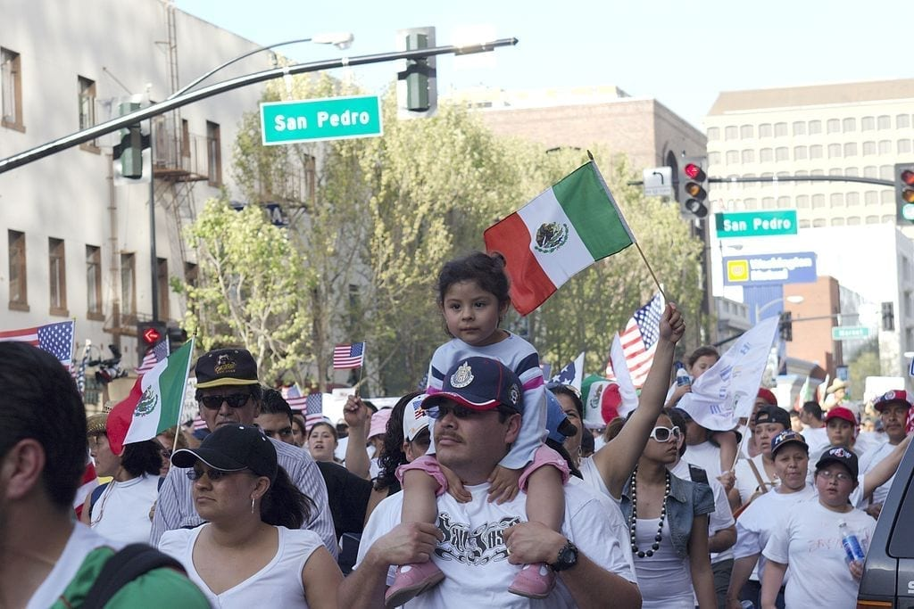 Image of Mexican immigrants marching for more rights in San Jose