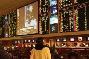Sports Betting at a Las Vegas Casino; image courtesy of Baishampayan Ghose, via Flickr, CC BY-SA 2.0, no changes.