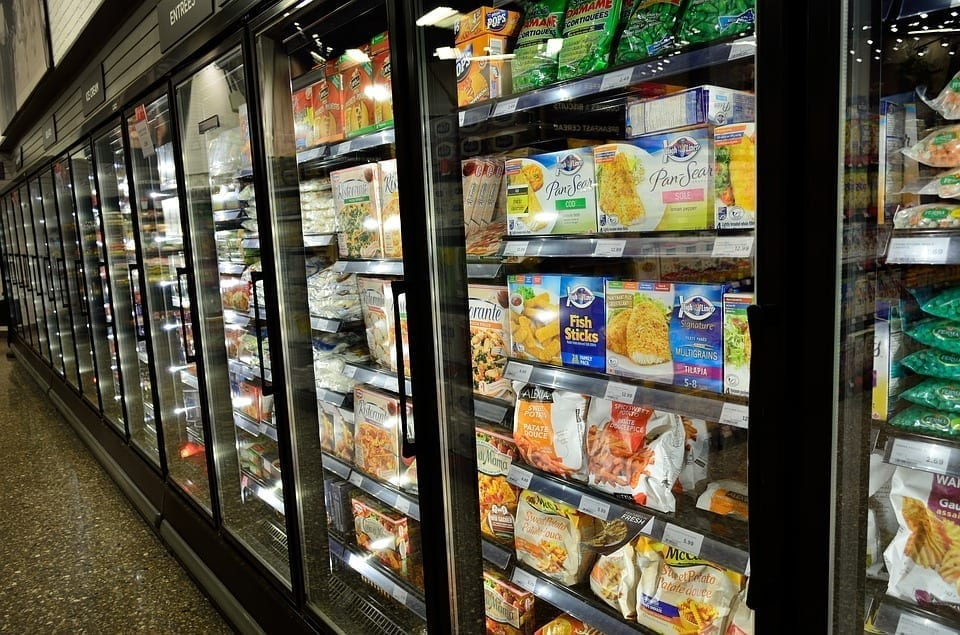 Image of a Frozen Dinner Section at Grocery Store