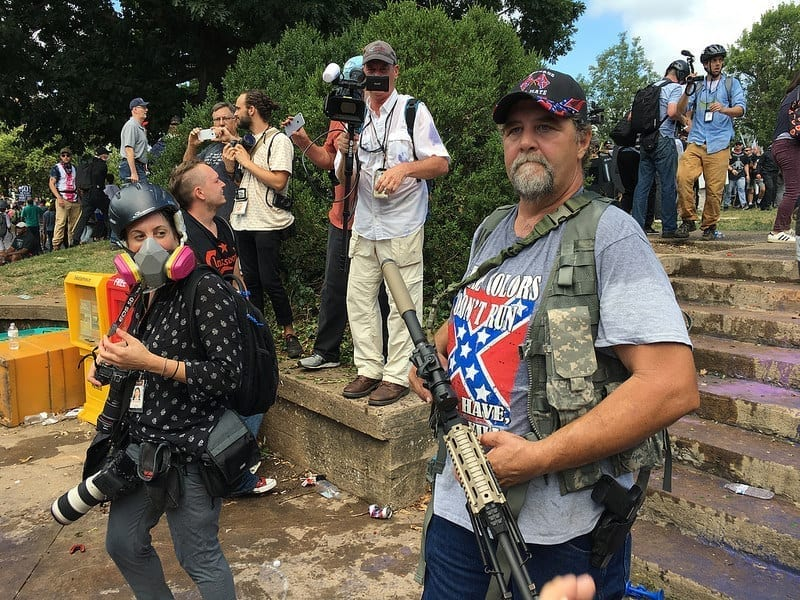 A protester open-carrying at the 2017 Unite the Right rally in Charlottesville, VA.