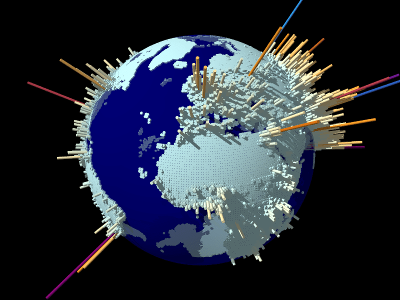A globe with raised bars showing areas of high population density.