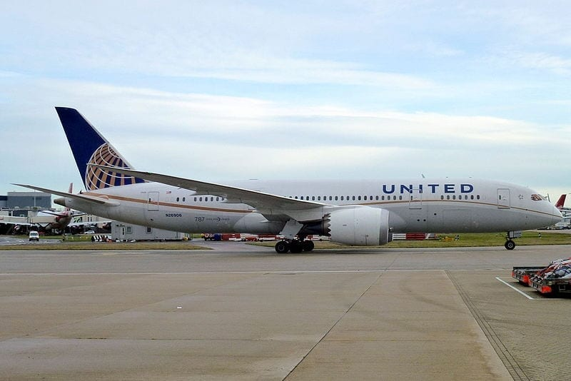 Image of a United Airlines Boeing 787