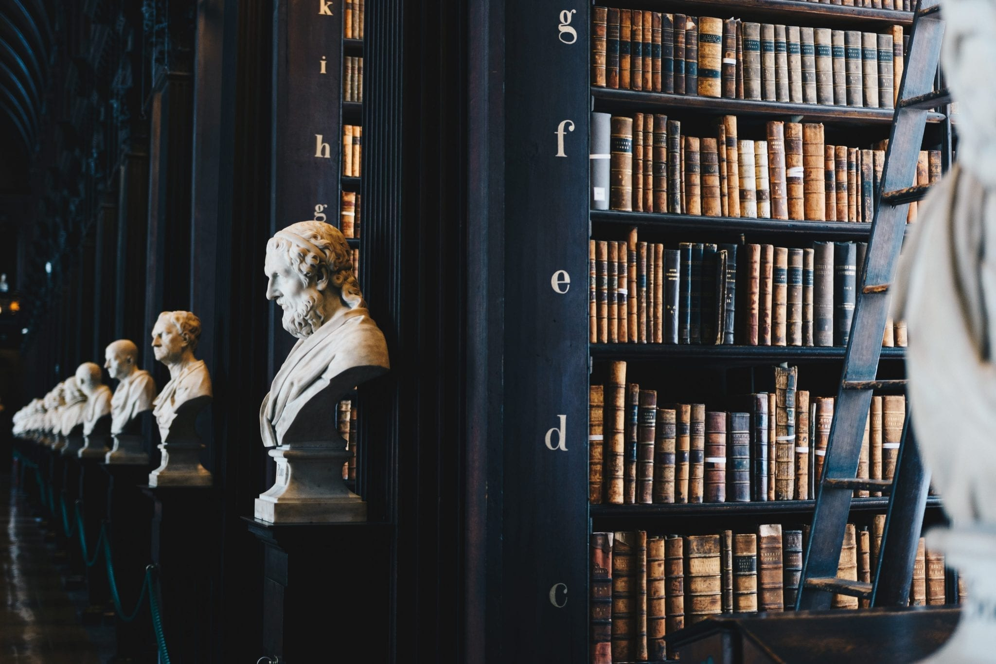 Library with various historical busts; image by Giammarco Boscaro, via Unsplash.com.