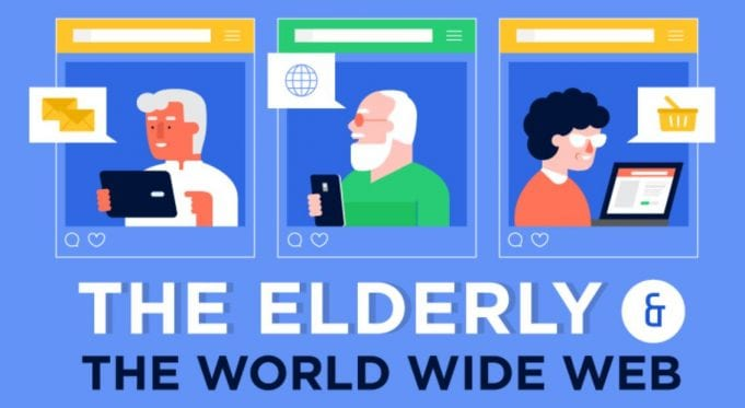 Graphic of seniors using the Internet; image courtesy of the author.