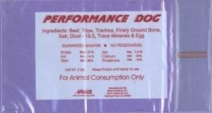 Image of the Product Label for Recalled Performance Dog Food