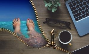 Work-life balance: relaxing at the beach and a laptop on a desk; image by Alexas_Fotos, via Pixabay, CC0.