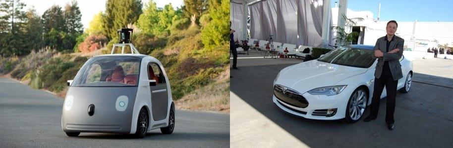 Google Self-Driving Car (left) and Elon Musk with a Tesla Model S (right); images via Pexels.com.