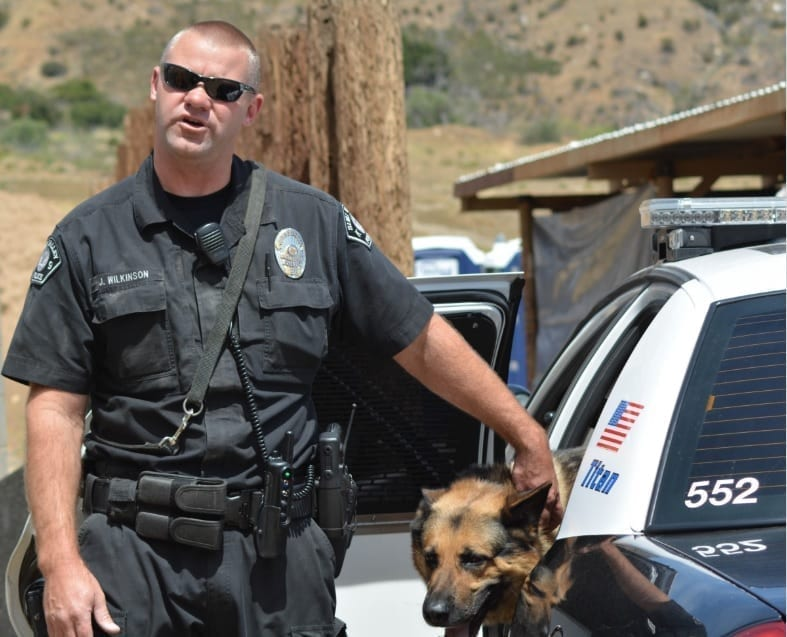 A sturdy-looking police officer in uniform and opaque sunglasses looks angrily at the camera. He rests his arm on his patrol car where his K-9 companion sits.