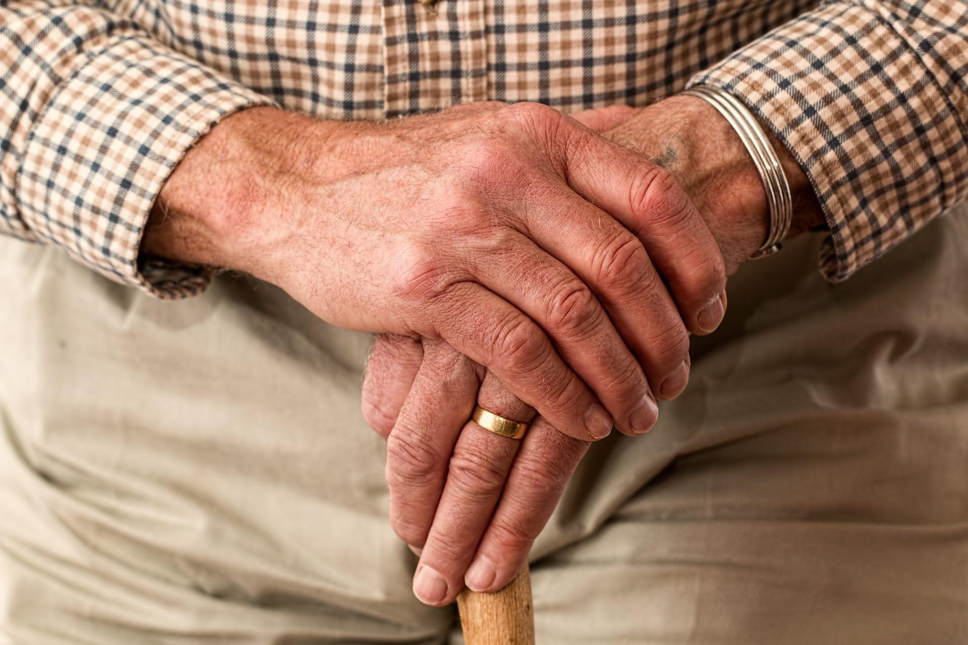 Elderly man with walking stick; image by stevepb, via Pixabay, CC0.