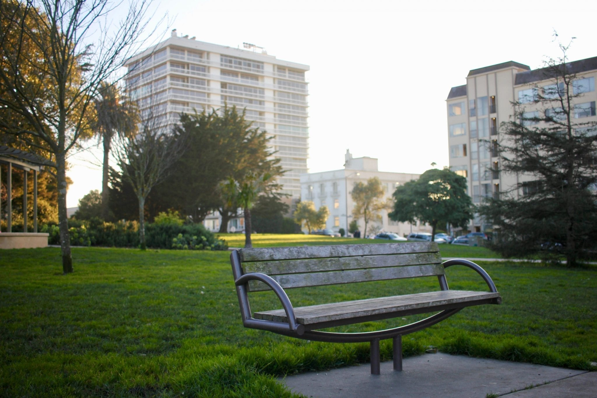 Park bench in San Francisco; image by Thomas Le, via Unsplash.com.