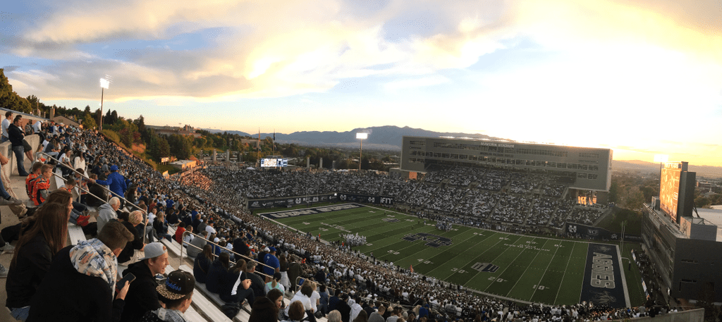 Image of the Maverik Stadium During an Aggie Football Game