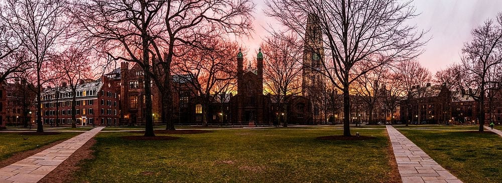 Yale's Old Campus at Dusk
