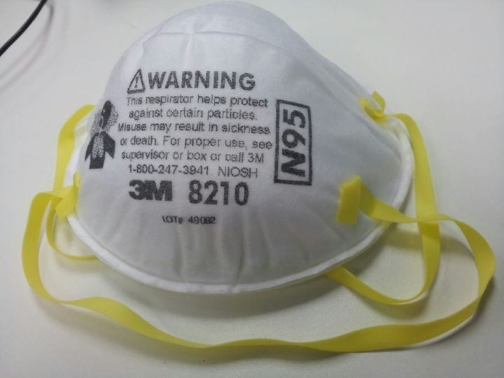 An N95 particulate mask.
