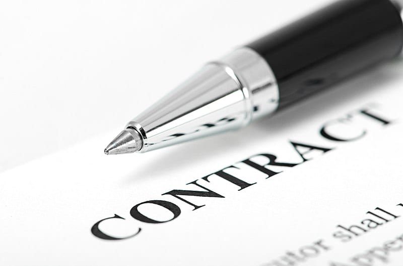 Contract paper and pen