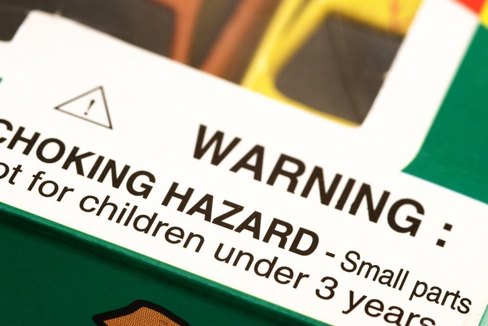 Choking hazard label; image via Shutterstock, provided by author.