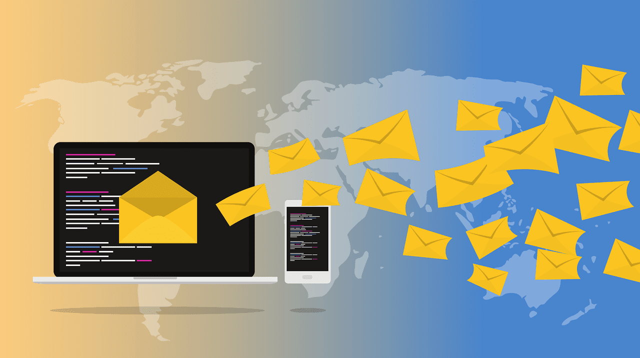 Envelopes, representing email, flying across the world from a computer screen; image by ribkhan, via Pixabay.com, CC0.