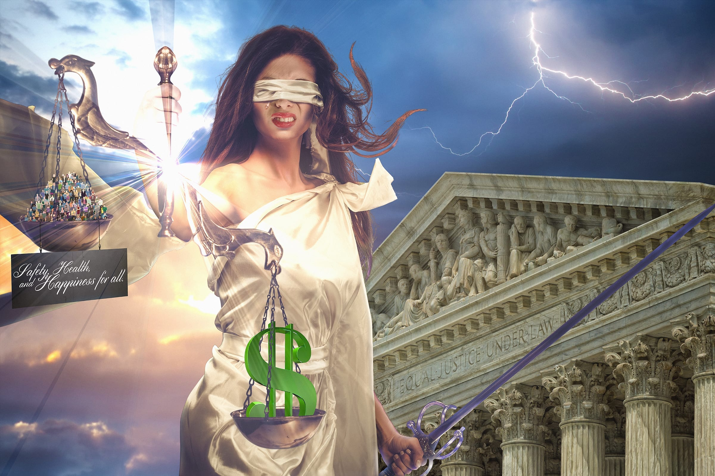 Lady Justice weeping as money tips the scales over the people; graphic by Neil Angeles.