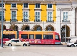 ThermaCare advertisement on a Lisbon tram, in 2017