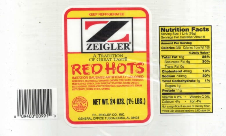Label of Recalled Zeigler Products