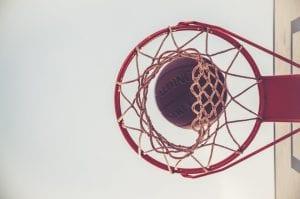 Basketball and Basketball net