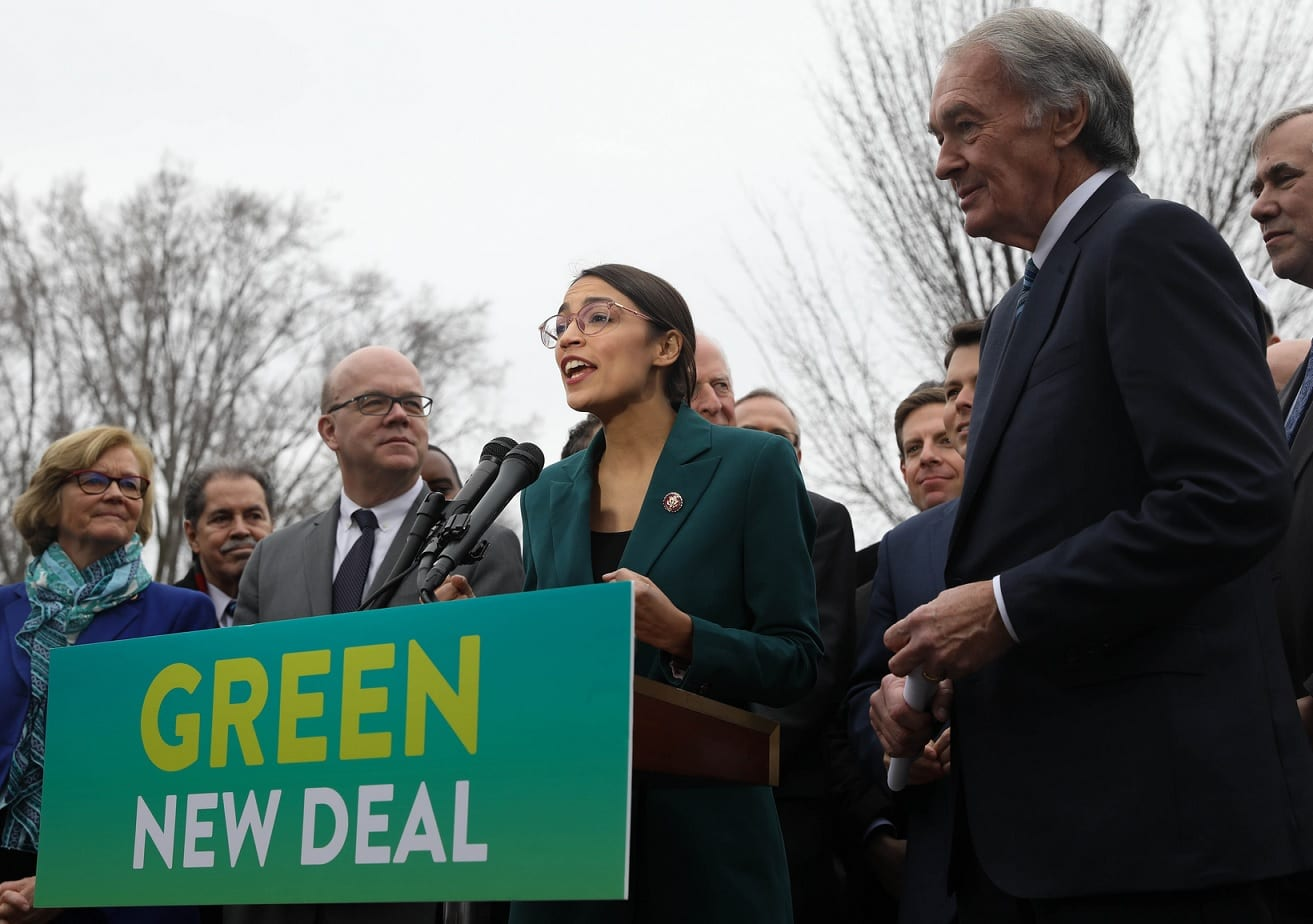 U.S. House Rep. Alexandria Ocasio-Cortez (D-NY) and U.S. Senator Ed Markey (D-MA), at a press conference discussing the Green New Deal resolution.