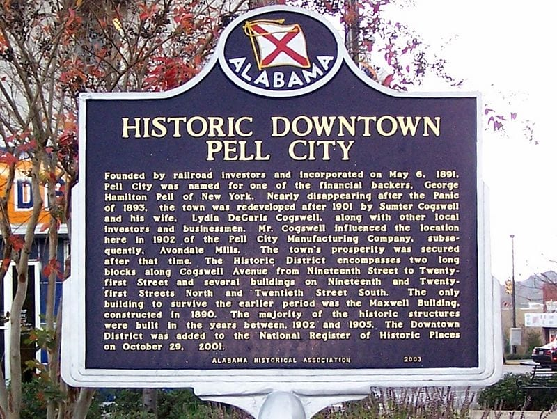 Historical Marker telling the story of Pell City, AL
