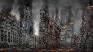 Image of a war-wreaked city