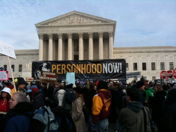 Personhood protest in front of the United States Supreme Court