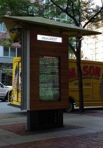 The MassDOT Kiosk outside of the Park Plaza headquarters