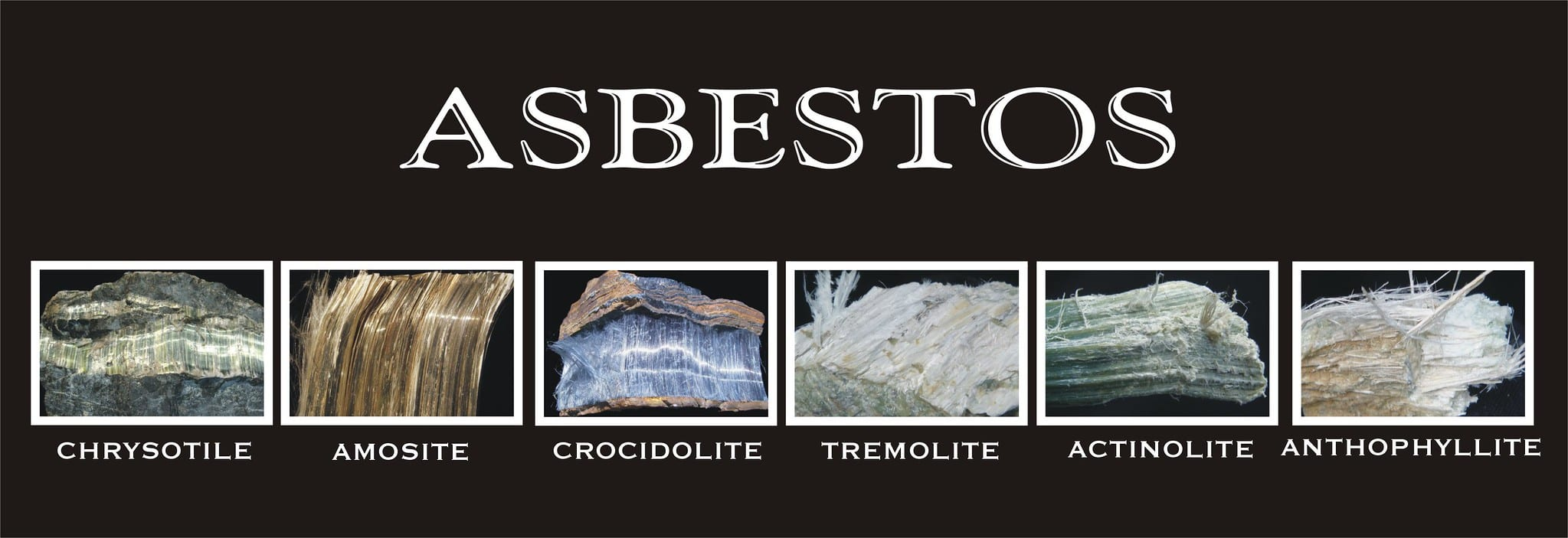 Six fibrous mineral ores representing asbestos; image by Asbestorama, via Flickr, CC BY-ND 2.0, no changes.