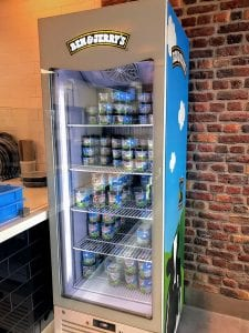 Ben & Jerry's display freezer at a Domino's store