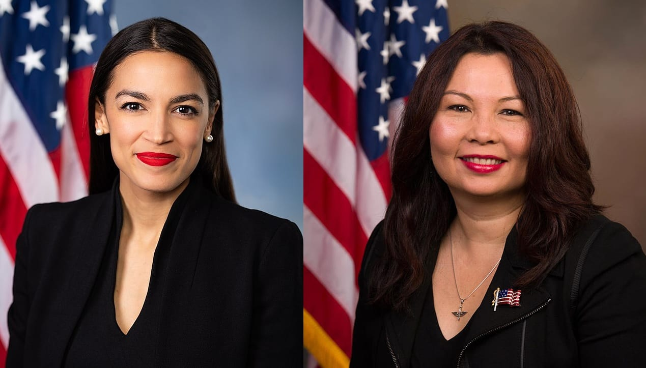 Official portraits of Congressmembers Alexandria Ocasio-Cortez and Tammy Duckworth. Both women are wearing dark colored suits and appear in front of the American flag.