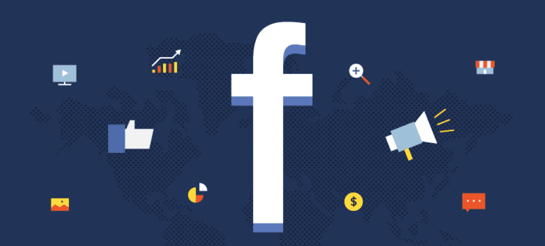 Facebook symbol on blue background surrounded by various marketing and communications icons; graphic courtesy of the author.