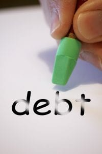The word debt and an eraser