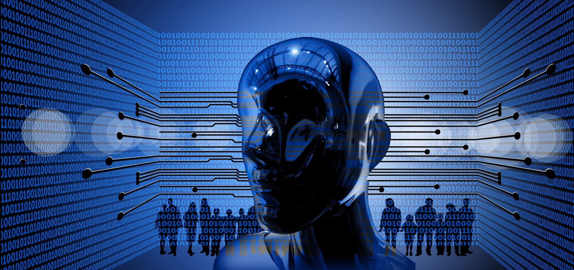 Metallic humanoid head surrounded by binary code with human silhouettes in background; image by geralt, via Pixabay.com.
