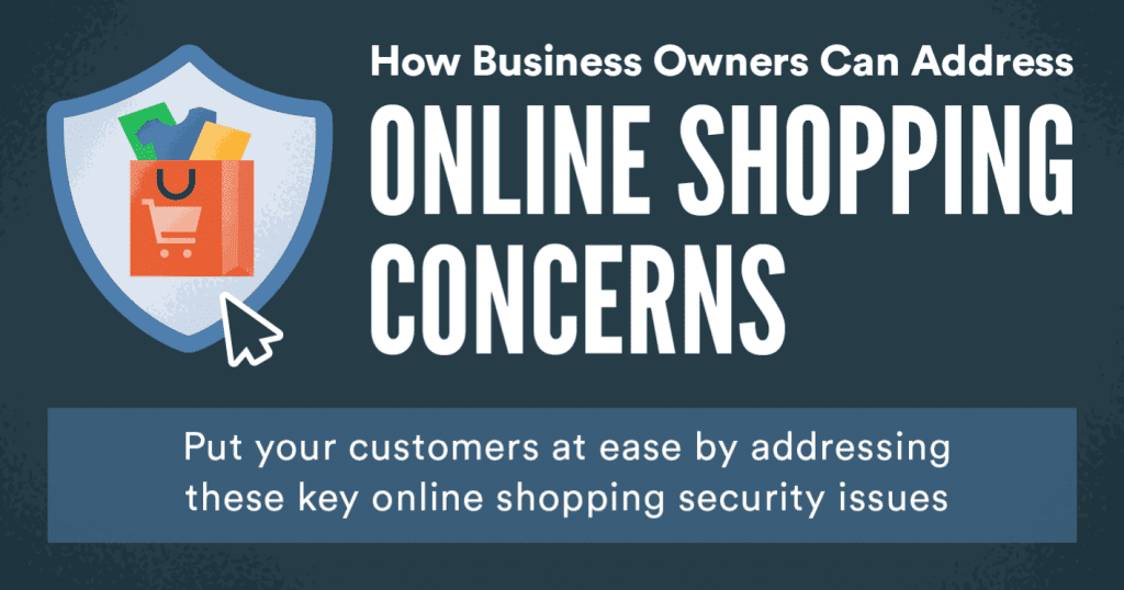 "Graphic saying ""How Business Owners Can Address Online Shopping Concerns,"" with a full shopping bag surrounded by a badge; graphic courtesy of author."