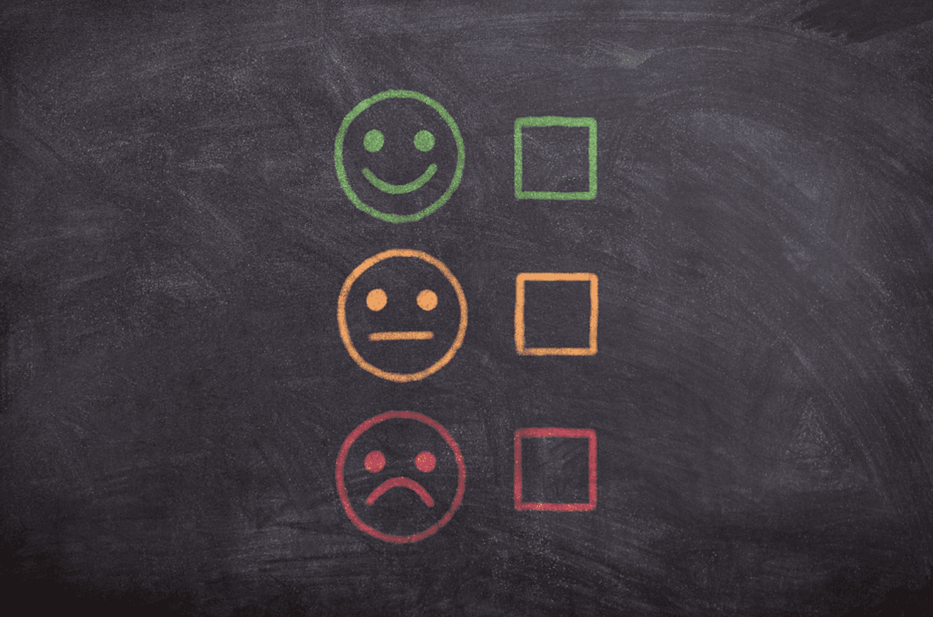 Chalkboard with a smiley face in green, a neutral face in yellow, and a sad face in red, each with check boxes in the corresponding color; image by athree23, via Pixabay.com.