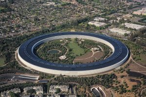 Apple Park, the corporate headquarters of Apple Inc., located in Cupertino, California