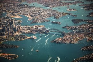 Birdseye view of Sydney, Australia; image by Jamie Davies, via Unsplash.com.