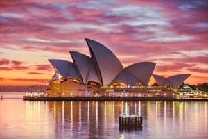 Sydney Opera House in Sydney, Australia, at sunset; image by Keith Zhu, via Unsplash.com.