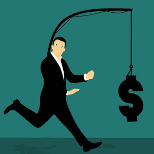 Chasing money graphic depicting a man in a suit with a pole down his back from which hangs a dollar sign; image by Mohamed Hassan, via Pixabay.com.