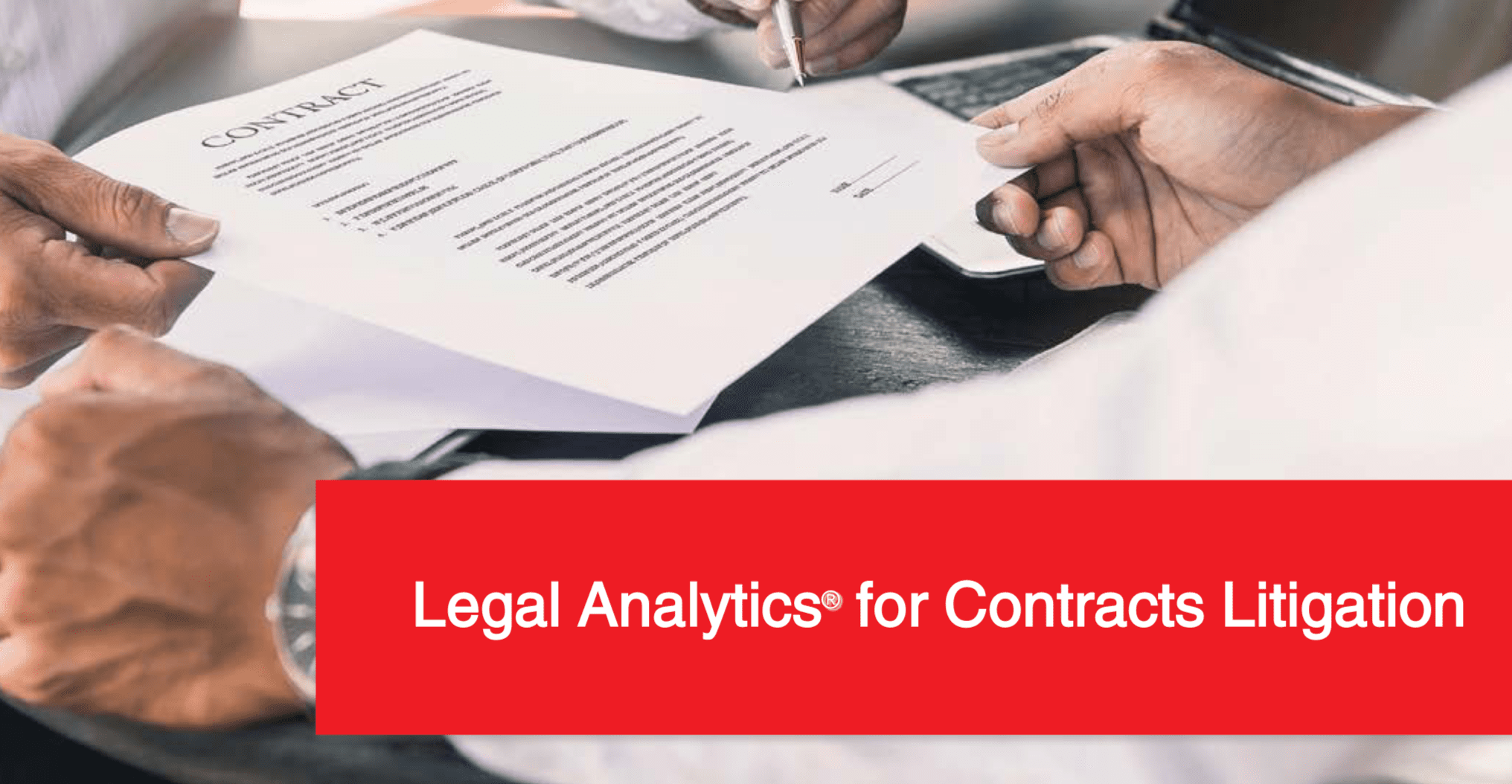 Legal analytics for Contract Litigation. People exchanging contract; image courtesy of Lex Machina.