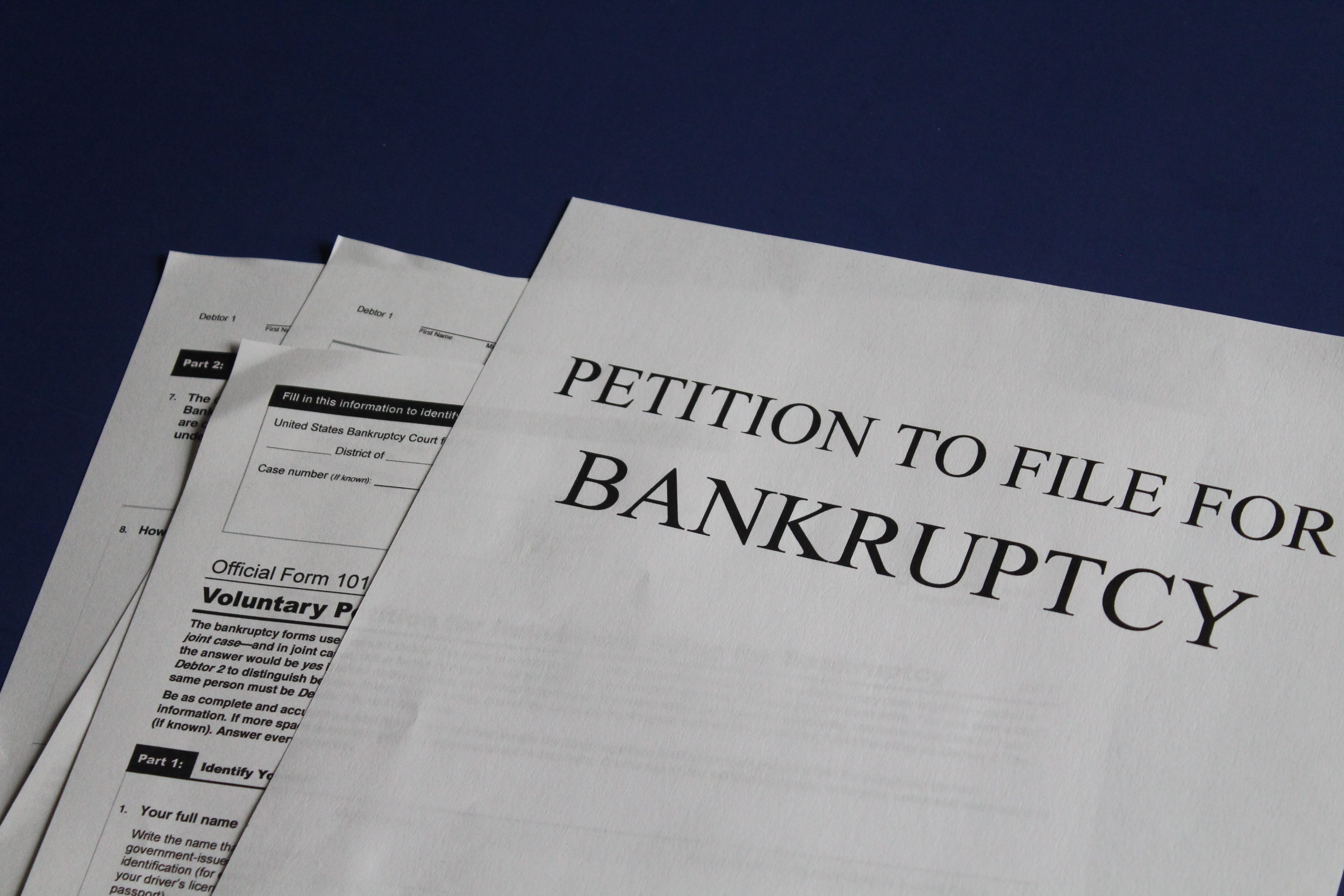 Petition to file bankruptcy; image by Melinda Gimpel, via Unsplash.com.