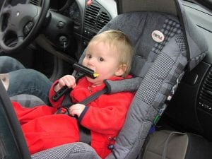 Child sitting in a car seat