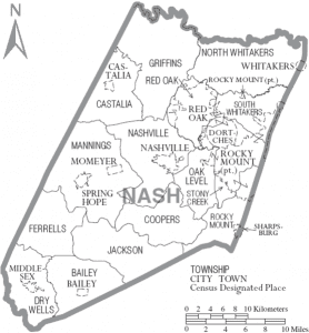 Map of Nash County, North Carolina