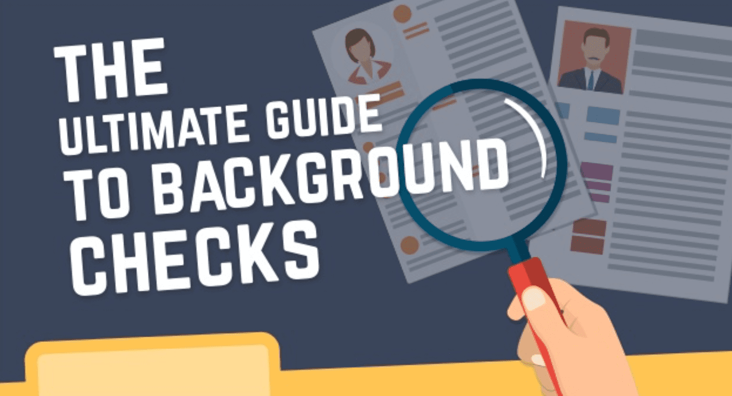 The Ultimate Guide to Background Checks graphic of person with magnifying glass reviewing papers; graphic courtesy of author.