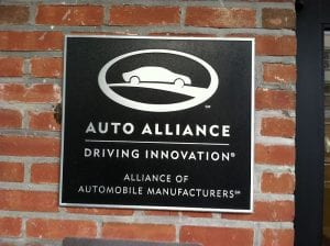 In Washington, D.C., the Alliance of Automobile Manufacturers Plaque on their HQ