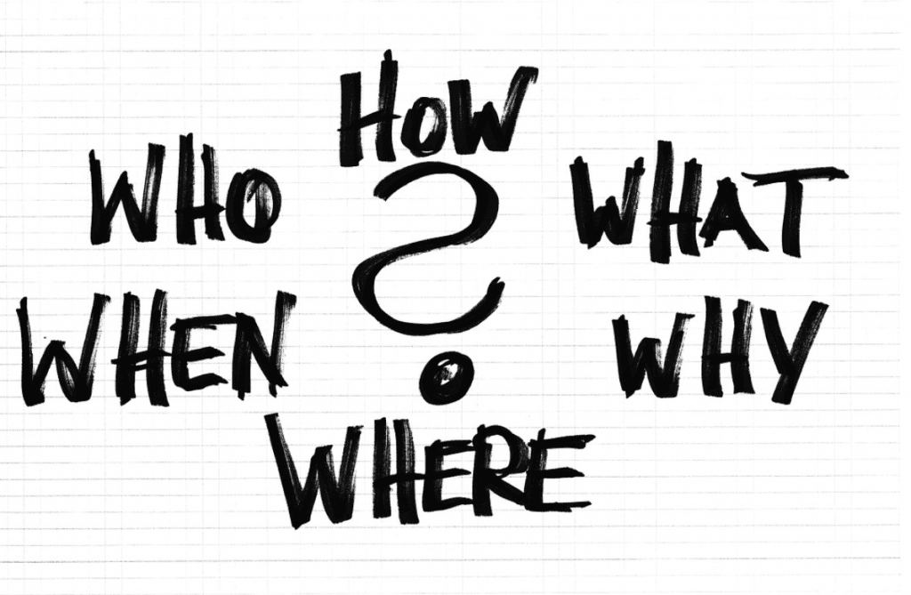 "Black and white writing of ""Who, What, When, Where, Why, How?"" Image by Geralt, via Pixabay.com."